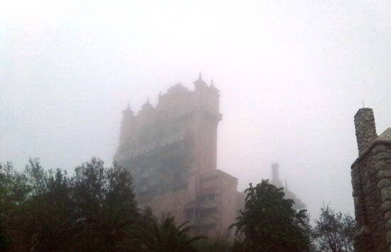 Haunted Mansion and Tower of Terror foggy morning
