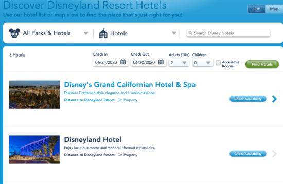 Disneyland online hotel booking