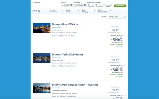Screenshots from Disney World website