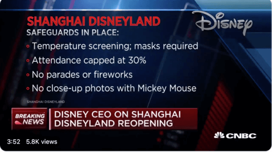 Shanghai Disneyland Safety Protocols CNBC Chapek Interview