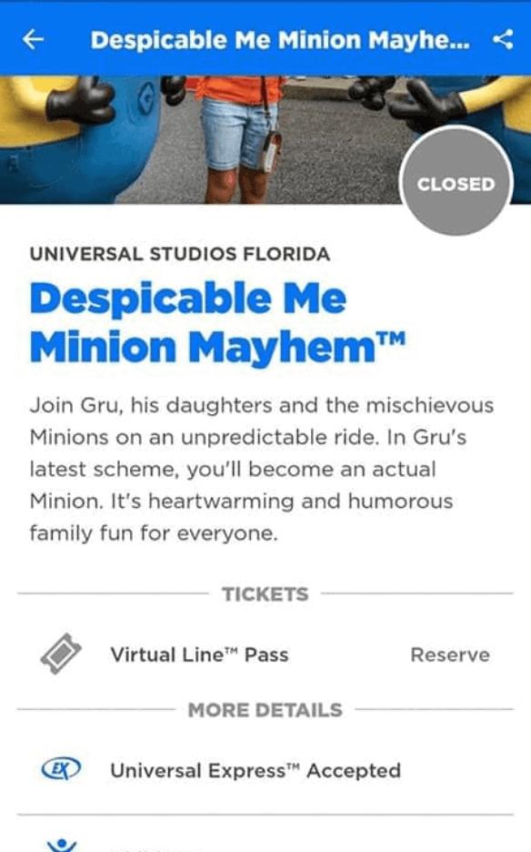 Universal Orlando Ride Virtual Line