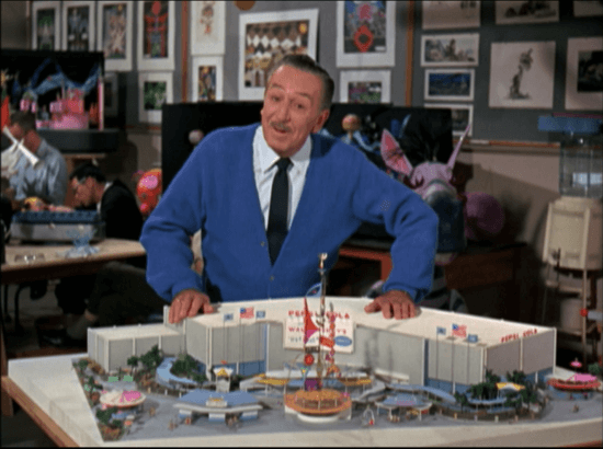 Walt Disney with a model of the Unicef World's Fair Pavilion