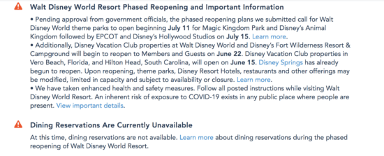 dining reservations not availalbe