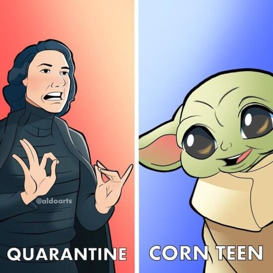 Disney Characters during quarantine the Child