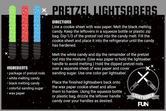 lightsaber pretzel rod recipe card