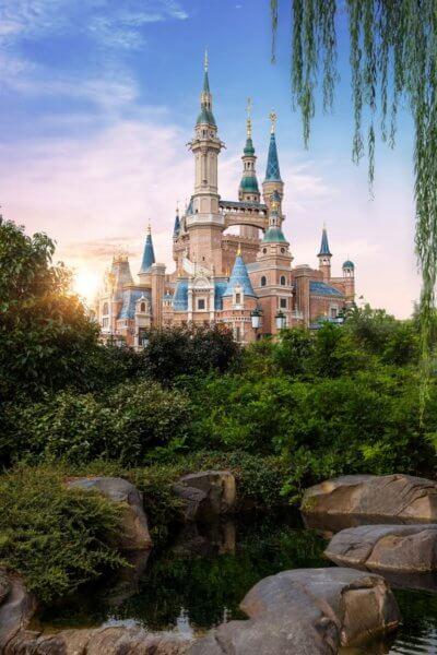 shanghai disney storybook castle sunrise