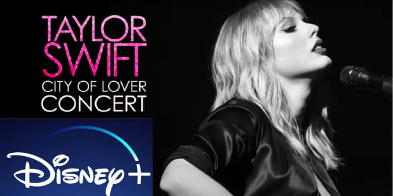 Image of Taylor Swift and Disney+ logo.