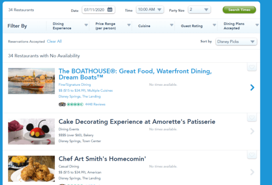 wdw website dining reservations