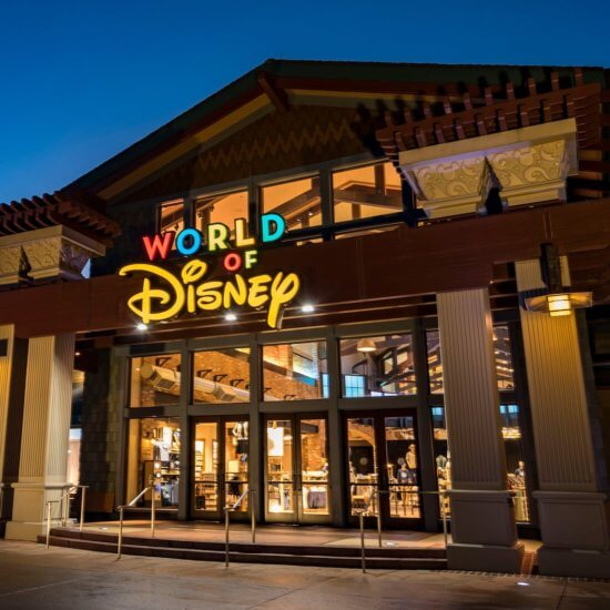 World of Disney store front at night
