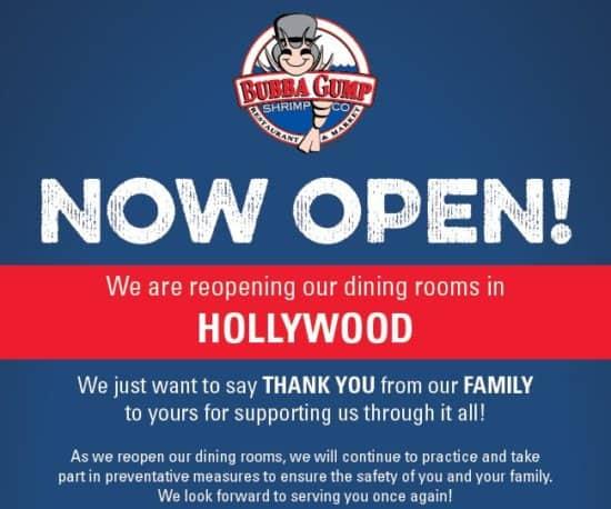 Bubba Gump reopening
