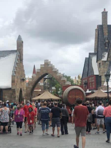 Crowds at Hogsmead at Universal Orlando Reopening