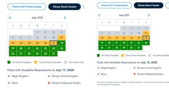 Disney's Hollywood Studios Dates Unavailable