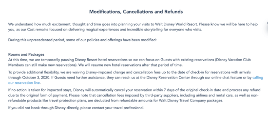 flexible cancellations update wdw