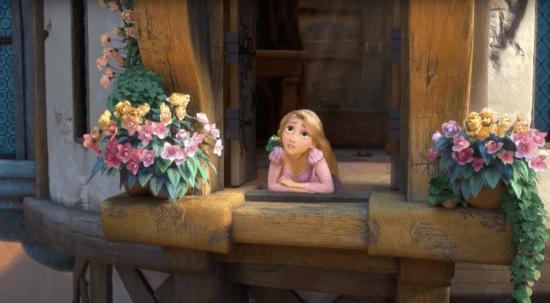 rapunzel leaning on tower window
