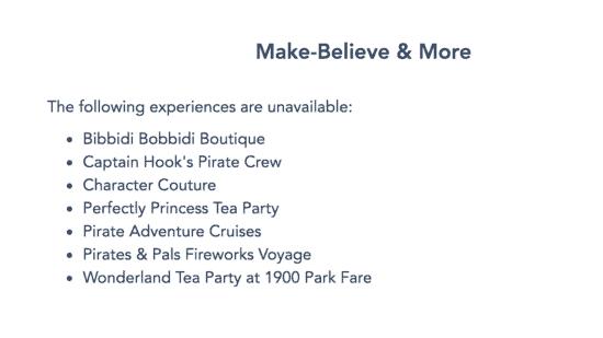 make believe experiences unavailable wdw