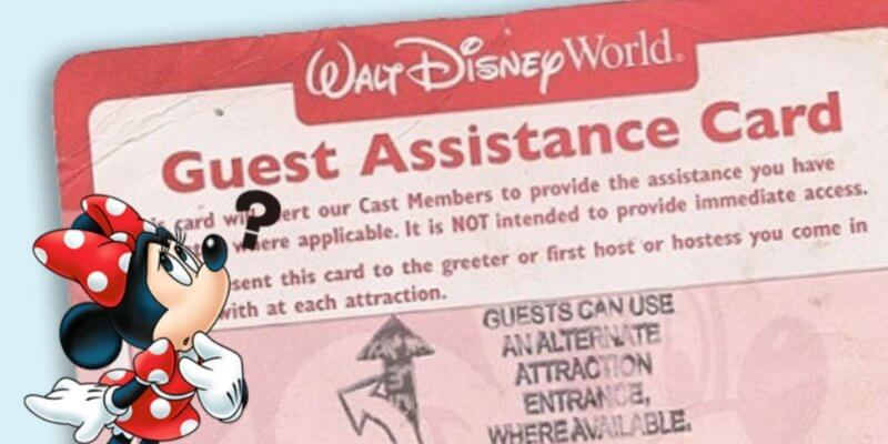 Minnie Mouse and Guest Assistance Card