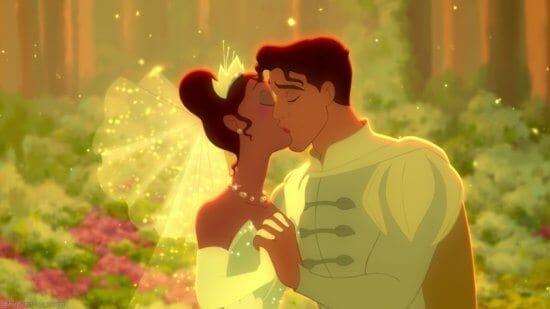 princess tiana and prince naveen wedding kiss the princess and the frog