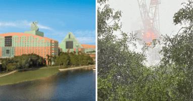 Disney Construction Crane on Fire