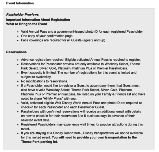 Disney World Passholder Preview Information