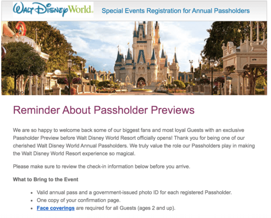 Annual Passholder Preview Reminder Email