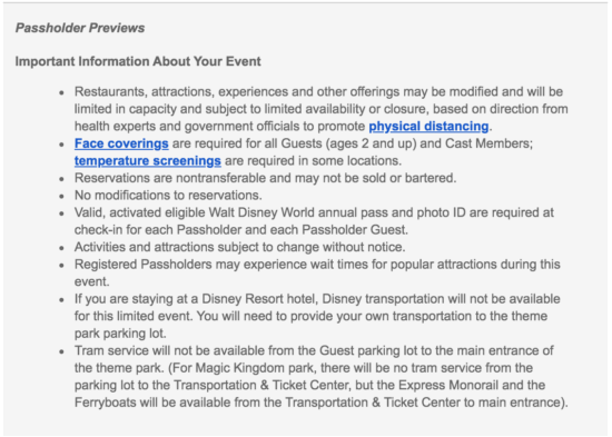 Annual Passholder Preview information