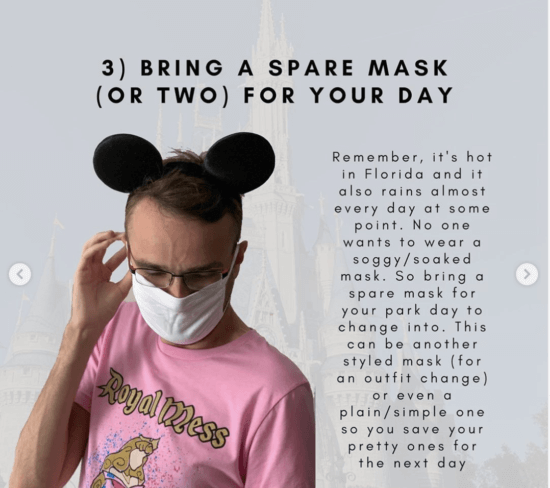 bring a spare face mask to disney