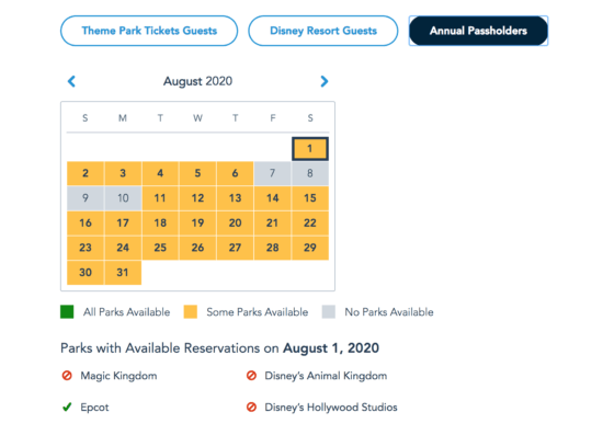 Disney Park Pass Availability for Annual Passholders as of 3pm on 7.24.20