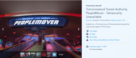 Tomorrowland Peoplemover closed