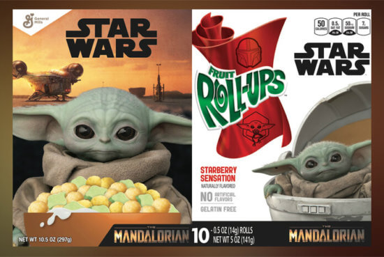 baby yoda cereal and fruit roll ups