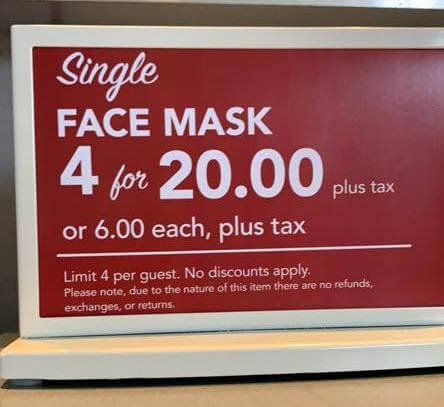 disney face mask prices