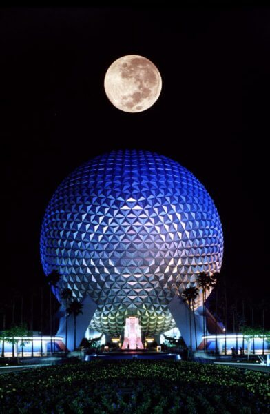 Spaceship Earth at night in 1982