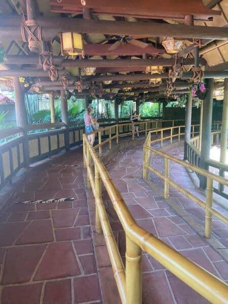 Enchanted Tiki Room socially distanced queue