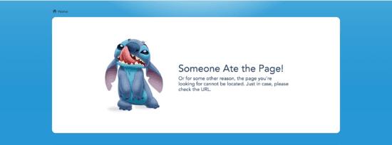 Error Page on the Walt Disney World Website