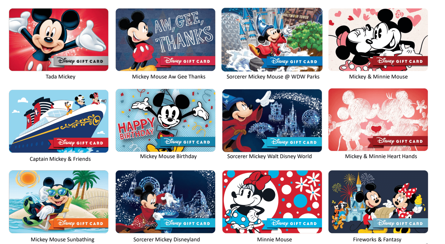 Mickey and Minnie Gift Cards