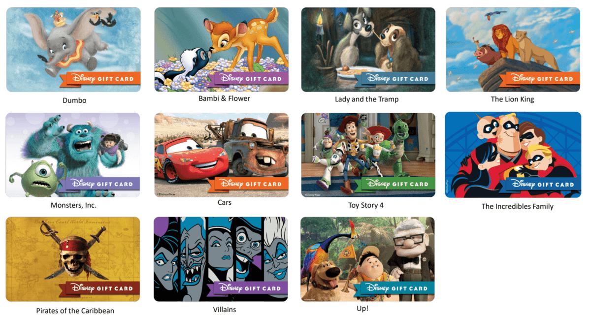 Disney Movie gift cards