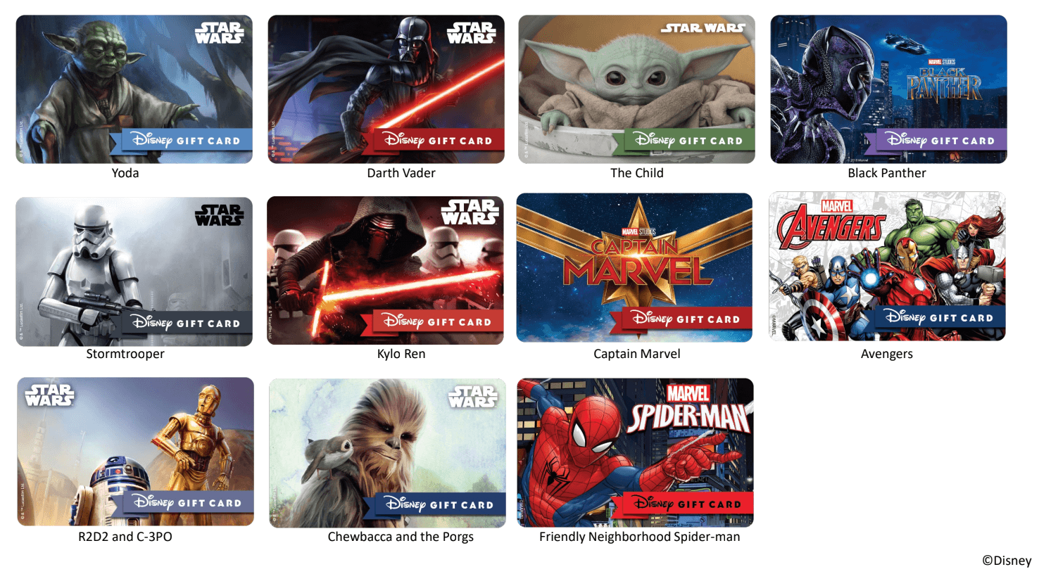 Star Wars and Marvel Gift Cards