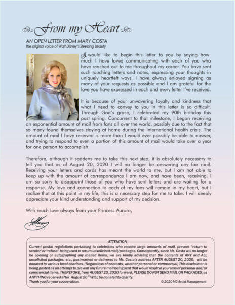 mary costa letter to fans