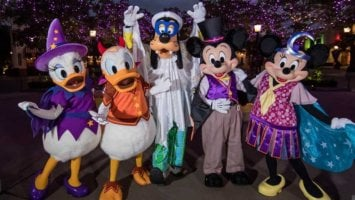 Mickey, Minnie, Donald, Daisy, and Goofy dressed for Halloween