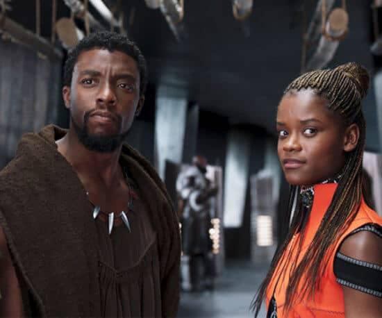 Chadwick Boseman as t'challa aka black panther (left) and Letitia Wright as shuri (right)