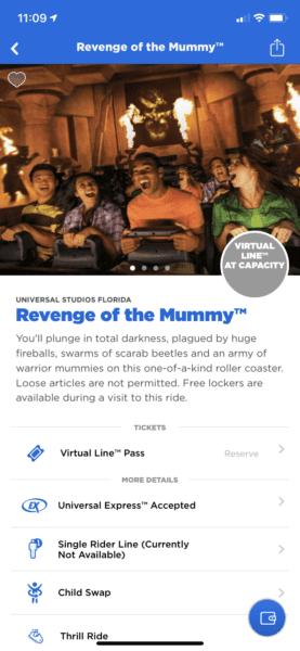 Revenge of the Mummy Virtual Line at Capacity