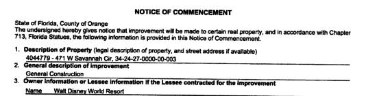 animal kingdom construction permit