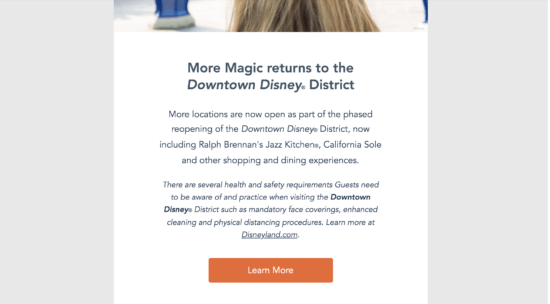 downtown disney email 1