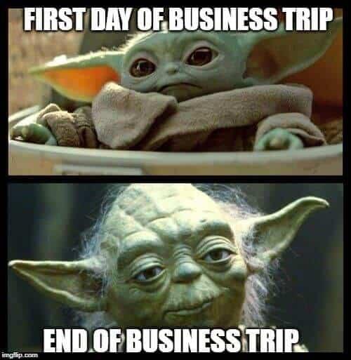 baby yoda business trip meme