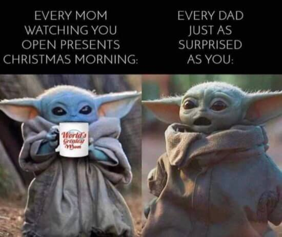 christmas morning baby yoda meme