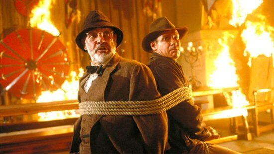 Sean Connery (left); Harrison Ford (right), 'Indiana Jones and the Last Crusade'
