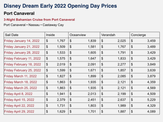 dcl prices 2022