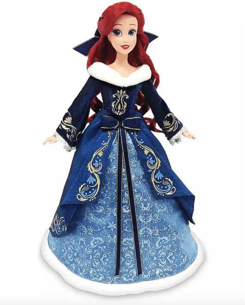front of disney holiday ariel doll from shopdisney in blue dress with ribbons