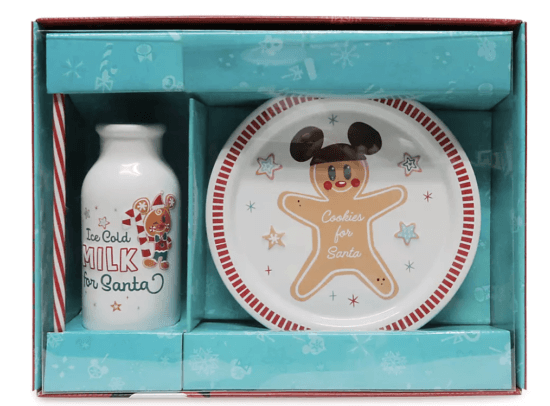 cookies and milk for santa with gingerbread mickey