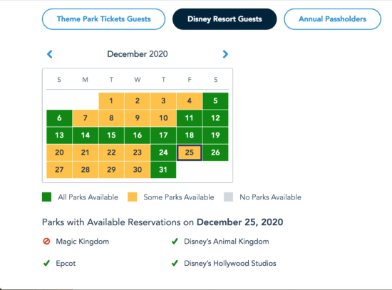 Disney Park Pass Reservations, December