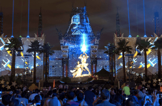 star wars galactic spectacular projection on hollywood studios chinese theater